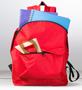 red backpack with school supplies