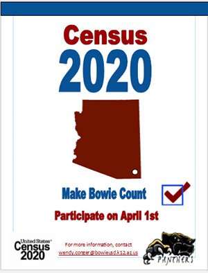 Census 2020 Make Bowie Count. Participate on April 1, 2020
