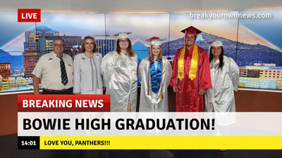 Graduates being featured on a breaking news segment