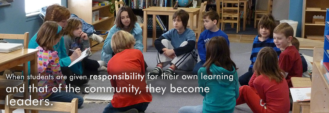 Group of Students: When students are given responsibility for their own learning and that of the community, they become leaders.