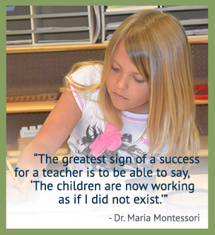 The greatest sign of a success for a teacher is to be able to say: The children are now working as if I did not exist. - Dr. Maria Montessori