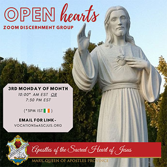 Open Hearts Zoom discernment group. 3rd Monday of the Month