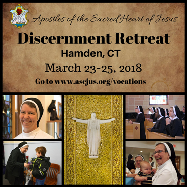 Discernment Retreat. Hamden, CT. March 23-25, 2018. Go to www.ascjus.org/vocations