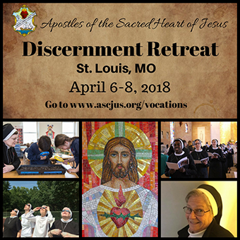 Discernment Retreat. St. Louis, MO. April 6-8, 2018. Go to www.ascjus.org/vocations