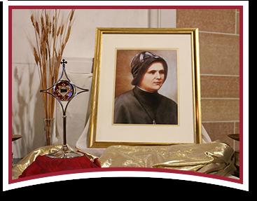Display including image of  Venerable Mother Clelia Merloni