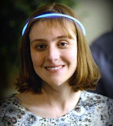 Staff member wearing a neon headband