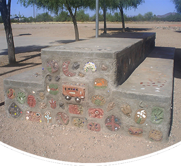 Stone with school related decoration
