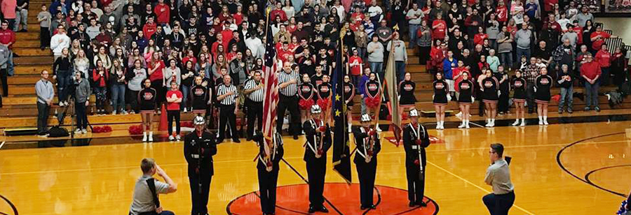 Opening flag ceremony at basketball game