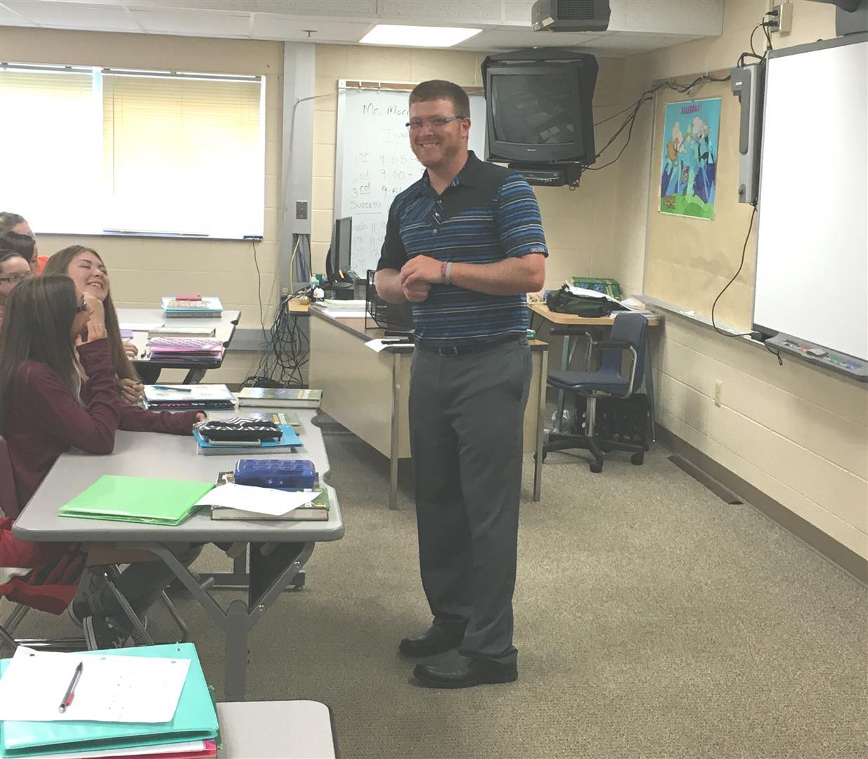Our new 8th grade math teacher,  Mr. Morrical.