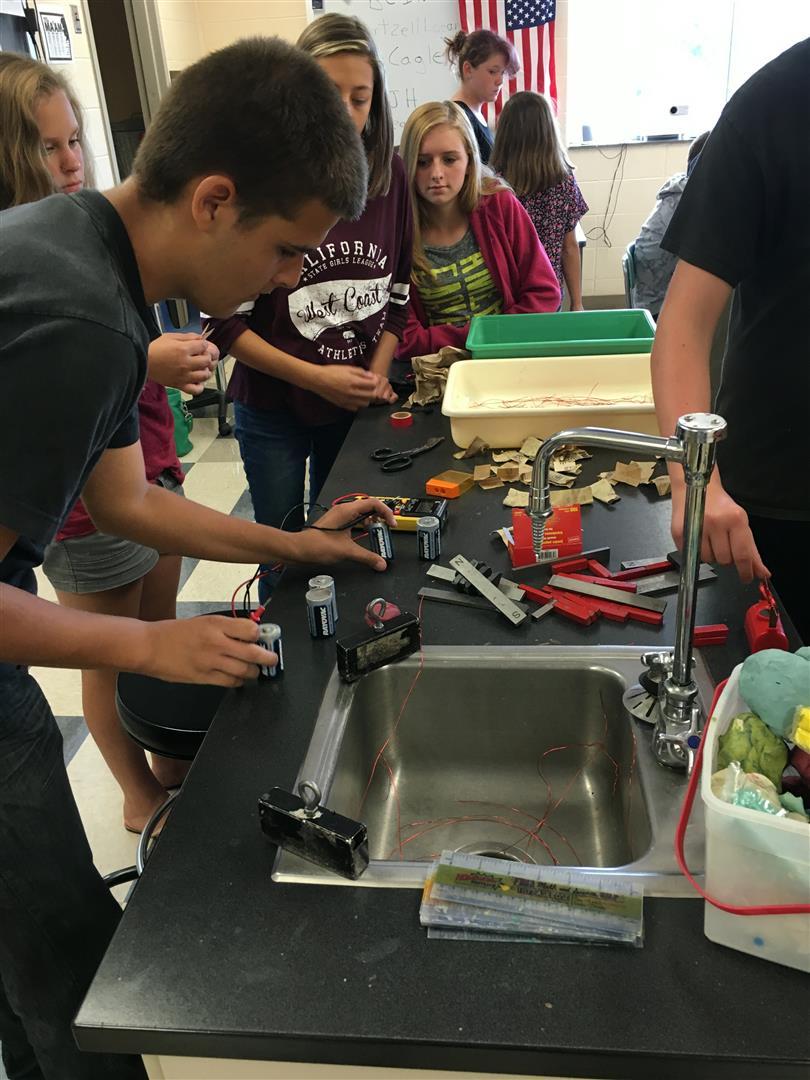 Mr. Allen's class making electric motors.
