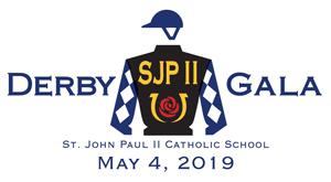 SJPII Derby Gala logo. St. John Paul II Catholic School Derby Gala May 4, 2019