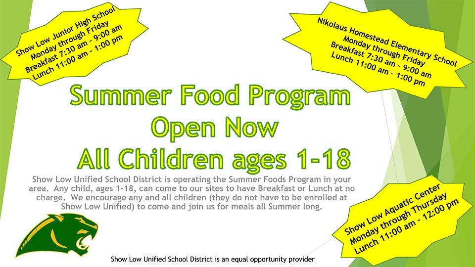 Summer Food Program Open Now All Children ages 1-18