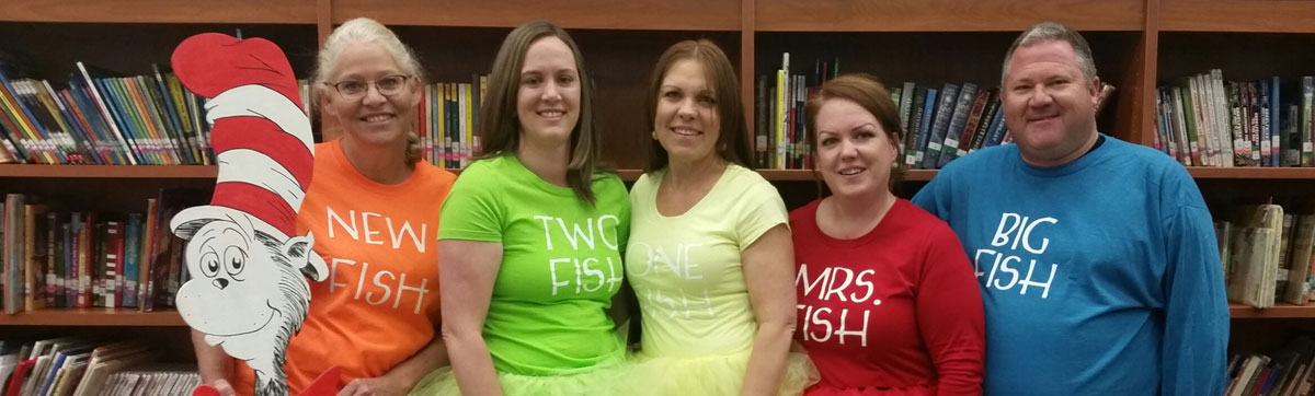 Teachers dressed as Dr. Seuss characters