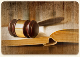 Gavel on an open book