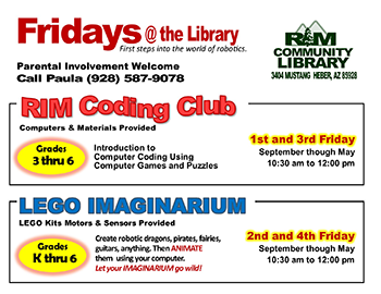 Fridays at the Library flyer