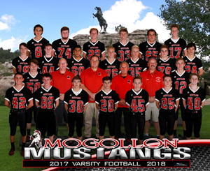 Varsity football team members and coach pose together