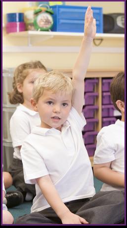 Student raises his hand