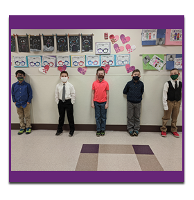 Five students with masks