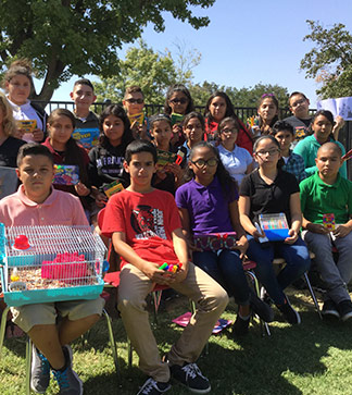 Students pose outside