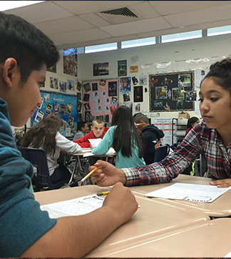Students help each other in class