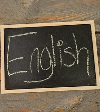 English written on a chalkboard
