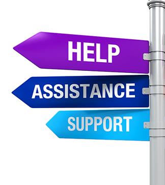 Sign that says Help, Assistance, and  Support