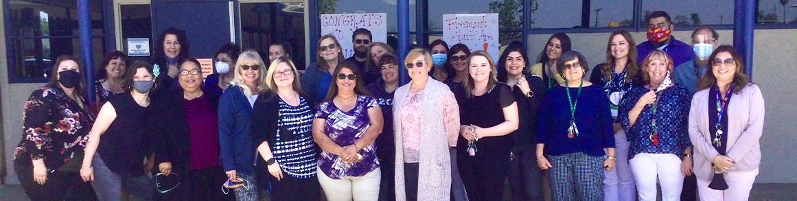 Teachers and staff outside
