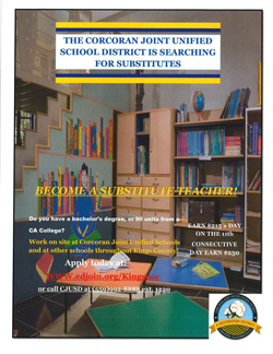 Substitute teacher job opening flyer