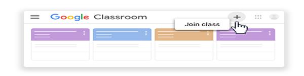 screenshot of google classroom, joining classroom