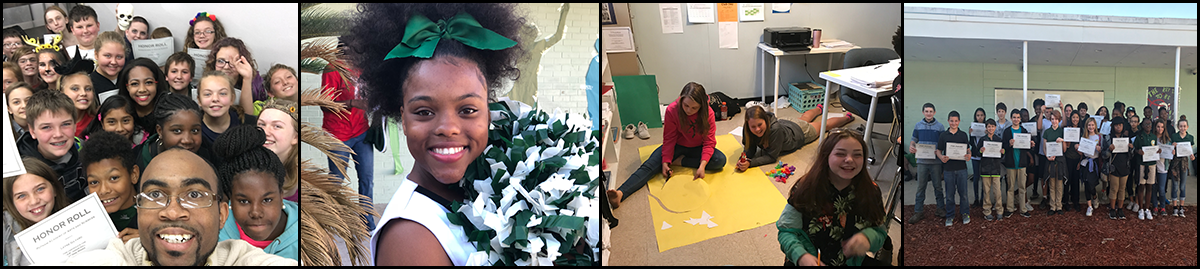 Teacher poses with students, cheerleader poses with pompoms, students sit on the floor and students pose with certificates