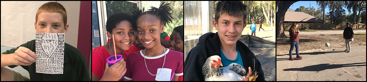 Student poses with a piece of paper, two students pose together, student poses with a chicken and two students play with a ball