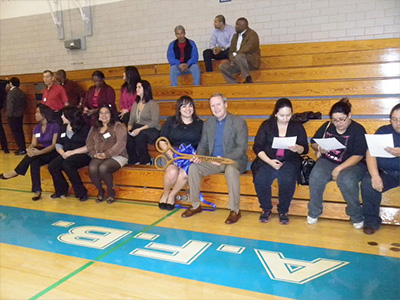 Group of people at the opening of the Fitness and Wellness Center