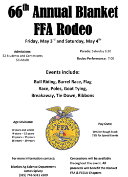 66th Annual Blanket FFA Rodeo flyer