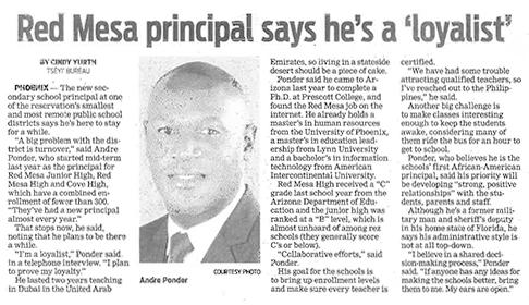 Red Mesa principal says he's a loyalist news article