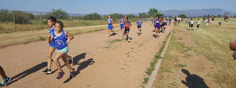 Students running a race