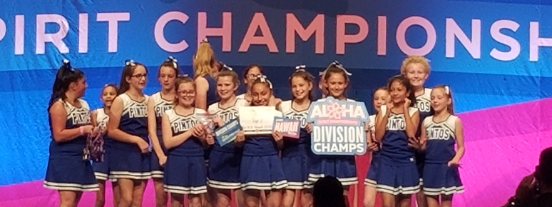 Cheerleaders receiving award