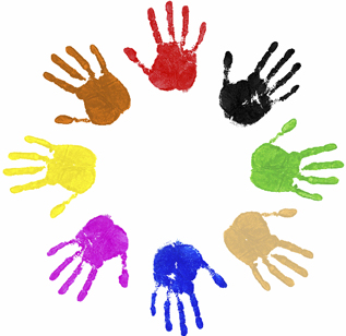 Painted hand prints in circle