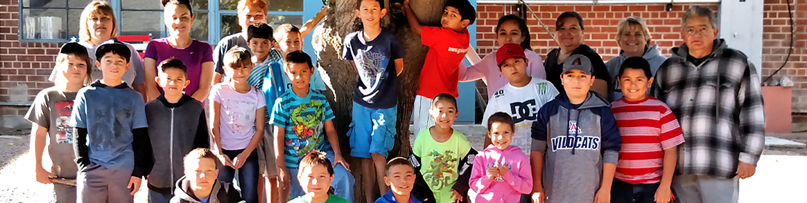 Group of Mammoth Elementary Students Outdoors