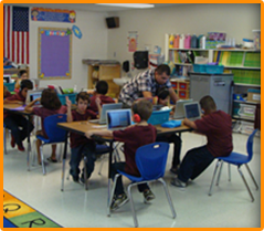 Teacher helps students in class