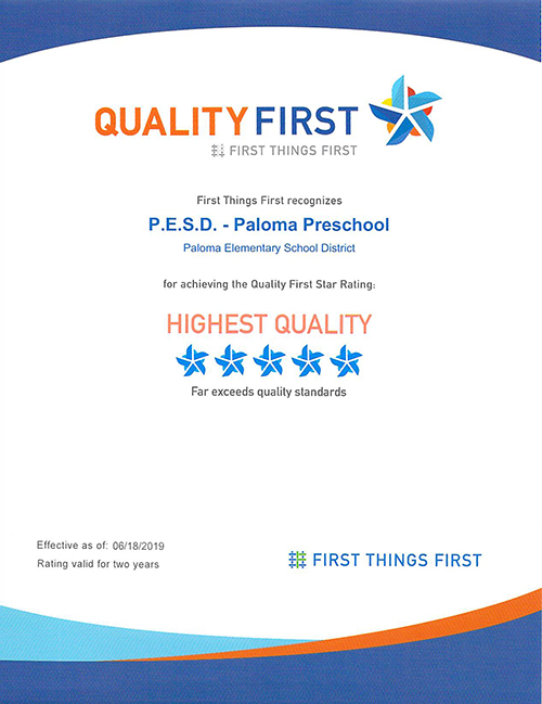 Quality First five star award