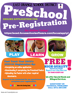 Preschool Pre-Registration flyer