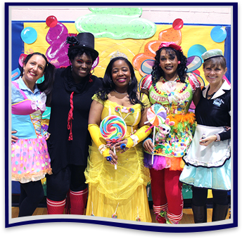 Staff members dressed as candy themed characters