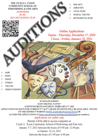 2021-2022 Performing and Fine Arts Auditions flyer