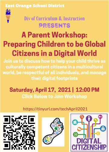 A Parent Workshop: Preparing Children to be Global Citizens in a Digital World flyer