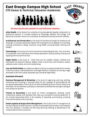 East Orange Campus High School CTE Career Flyer