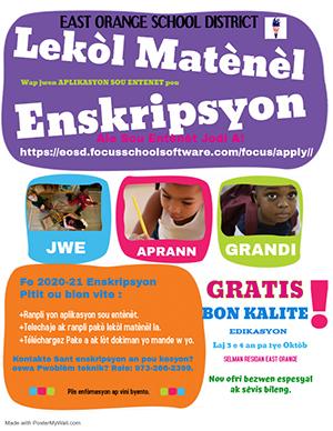 Preschool Registration Flyer - Creole