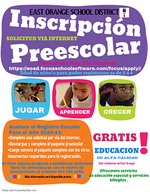 Preschool Registration Flyer - Spanish