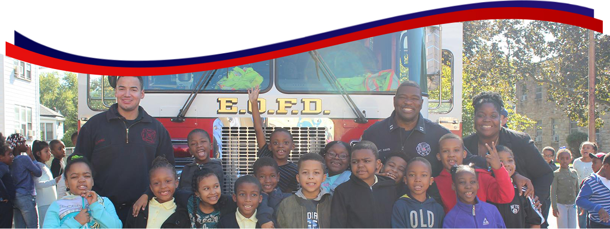 5-East Orange class in front of fire truck