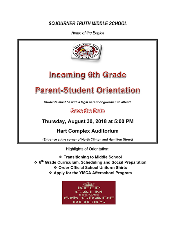 Incoming 6th Grade Parent-Student Orientation flier