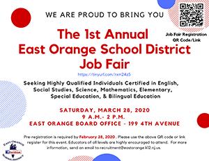 1ST ANNUAL EAST ORANGE SCHOOL DISTRICT JOB FAIR Flyer